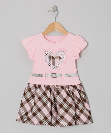 Pink Plaid Belted Puff-Sleeve Dress - Infant & Toddler