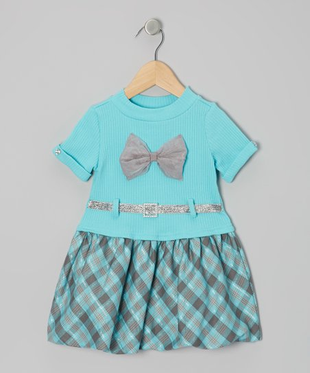 Aqua Plaid Belted Dress - Infant & Toddler