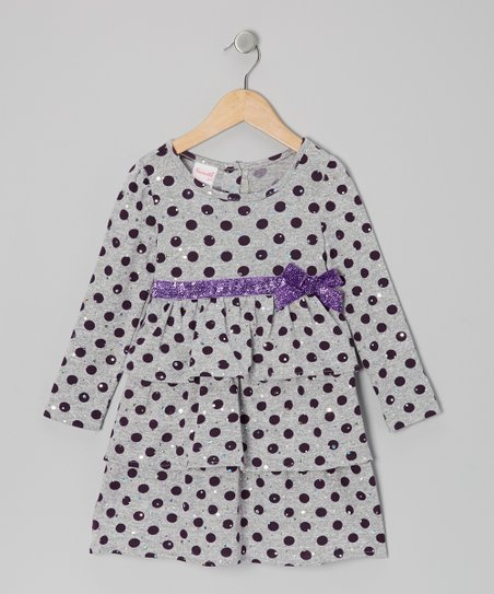 Gray Polka Dot Ruffle Dress - Girls
