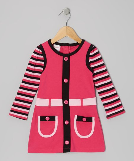 Pink Stripe Long-Sleeve Dress - Infant & Girls