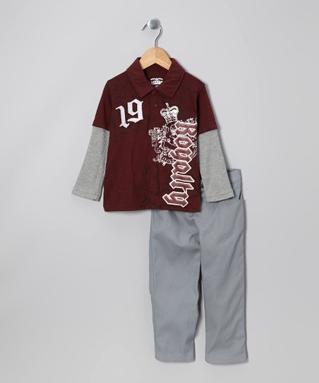 Red 'Royalty' Layered Polo & Pants - Infant, Toddler & Boys