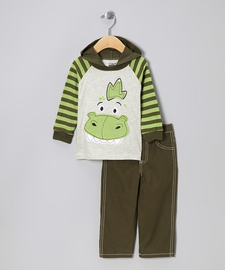 Green Dino Hooded Top & Pants - Infant