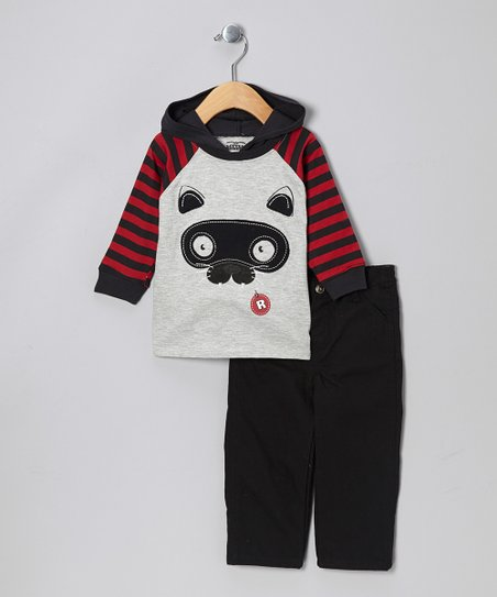 Gray & Red Raccoon Hooded Top & Black Pants - Infant