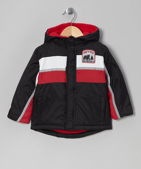 Black & Red Color Block Puffer Coat - Infant, Toddler & Boys