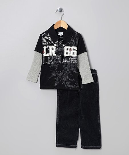 Black Layered Polo & Pants - Toddler & Boys