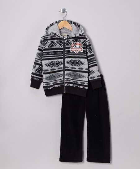 Gray Fleece Zip-Up Hoodie & Black Pants - Infant, Toddler & Boys