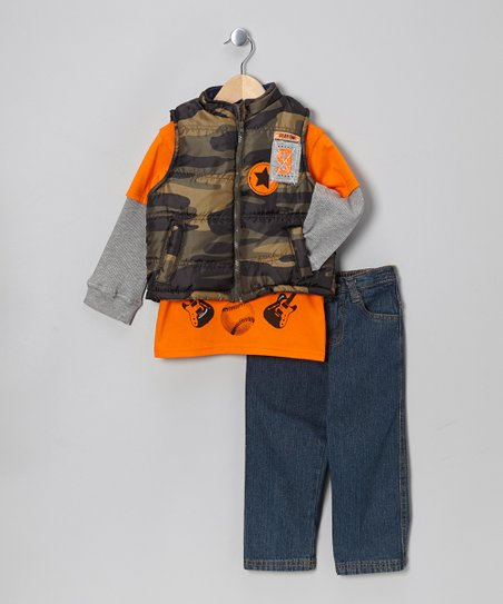 Green Camo Puffer Vest Set - Toddler
