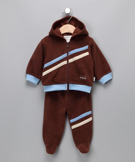 Brown 'Safe Deposit' Zip-Up Hoodie & Footie Pants - Infant