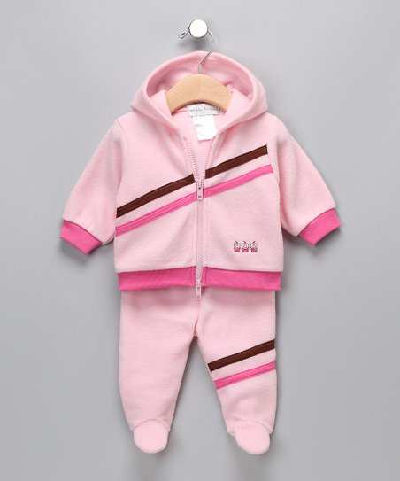 Pink 'Safe Deposit' Zip-Up Hoodie & Footie Pants - Infant