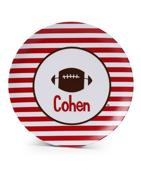 Red Stripe Football Personalized Plate