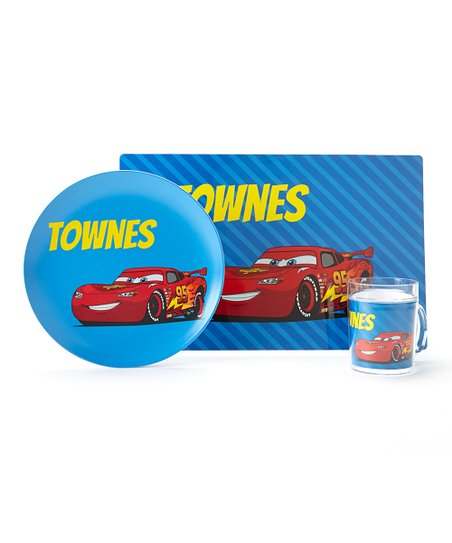 Blue Cars Personalized Tableware Set
