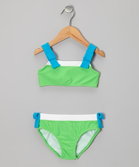 Neon Green & Blue Bikini - Toddler & Girls