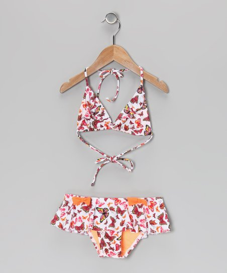 Coral Butterfly Garden Ruffle Skirted Bikini - Toddler & Girls