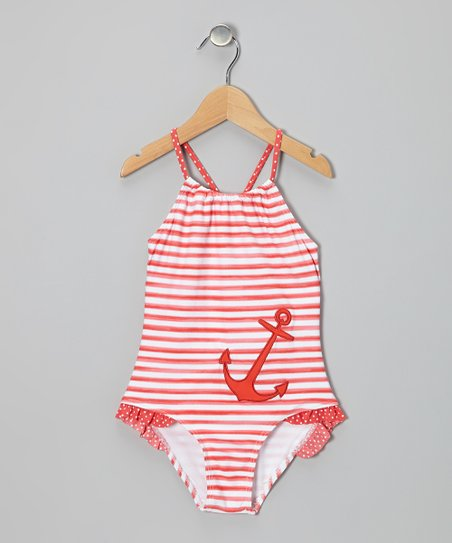 Coral Stripe Nautical One-Piece - Toddler & Girls