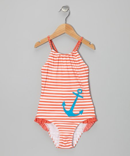 Orange Stripe Nautical One-Piece - Toddler & Girls