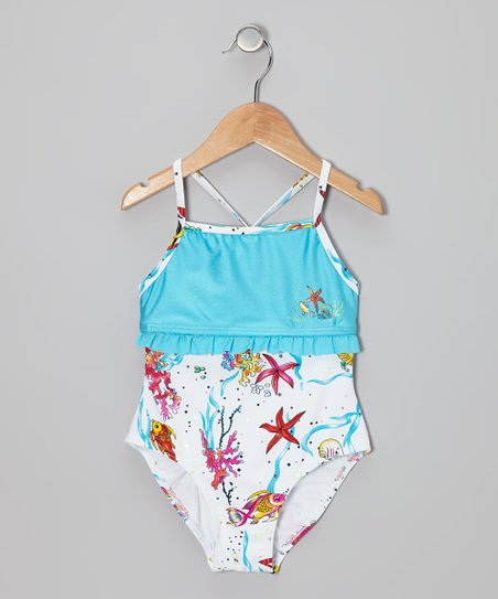 White & Blue Aquarium One-Piece - Infant, Toddler & Girls