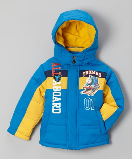 Blue & Yellow 'All Aboard' Puffer Coat - Toddler