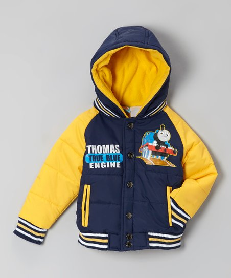 Navy & Yellow 'True Blue' Puffer Coat - Toddler