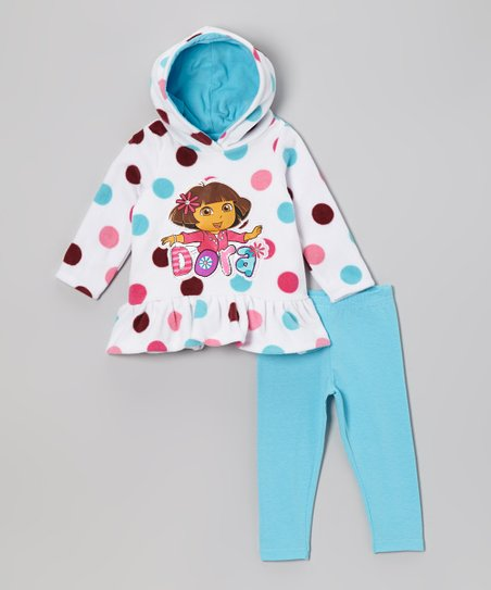 White & Turquoise 'Dora' Fleece Pullover Hoodie & Pants - Infant