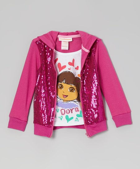 Pink Sequin Layered Zip-Up Hoodie - Toddler