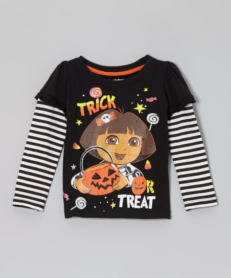 Black 'Trick or Treat' Layered Long-Sleeve Tee - Toddler
