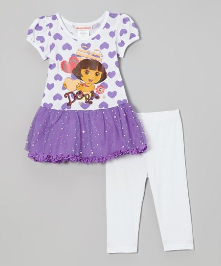 Purple Heart 'Dora' Ruffle Dress & White Pants - Girls