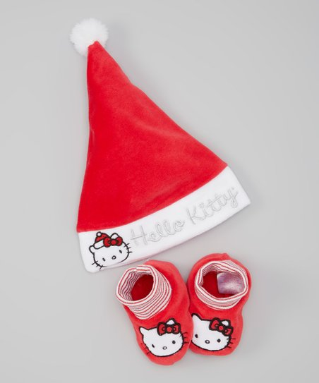 Red & White Lollipop Holiday Hat & Slippers