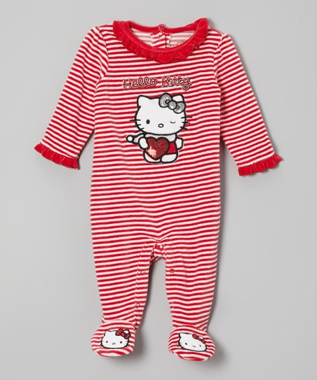 Red & White Stripe Hello Kitty Velour Footie - Infant