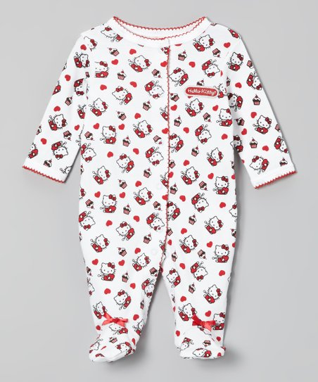 Red & White Hello Kitty Footie - Infant