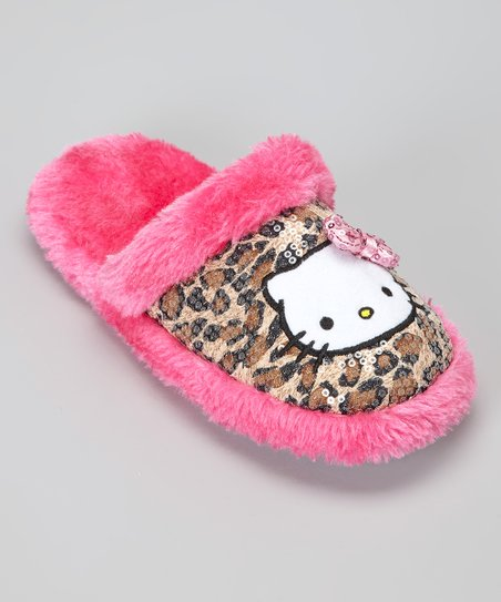 Pink & Brown Leopard Hello Kitty Slipper - Kids