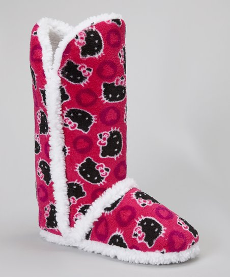 Pink & Black Hello Kitty Boot Slipper - Women