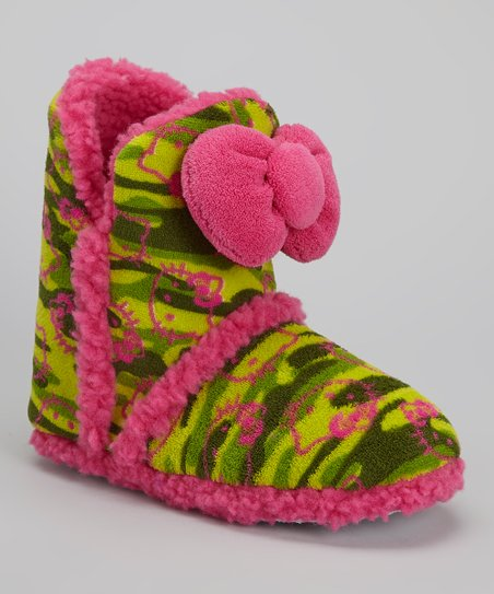 Pink & Green Camo Hello Kitty Boot Slipper - Women