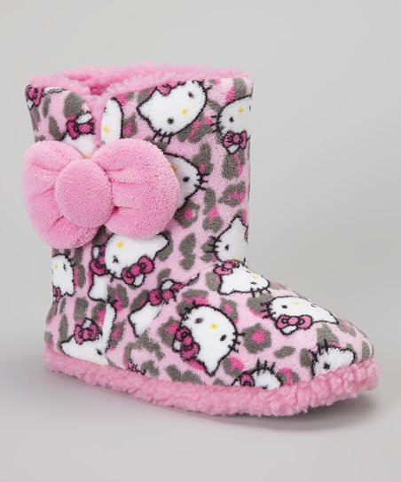 Pink & Gray Leopard Hello Kitty Boot Slipper - Women