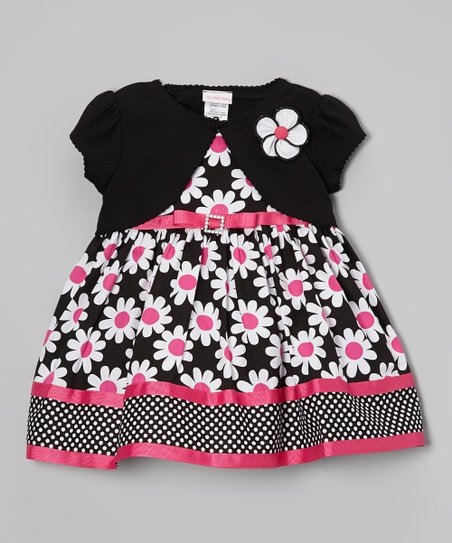 Black & Pink Floral Dress & Shrug - Toddler
