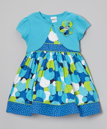 Blue & Green Polka Dot Dress & Shrug - Toddler