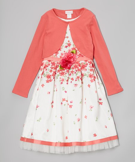 Coral & White Floral Dress & Cardigan - Toddler & Girls