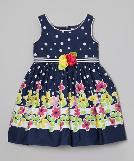 Navy & Yellow Floral Dress - Toddler & Girls