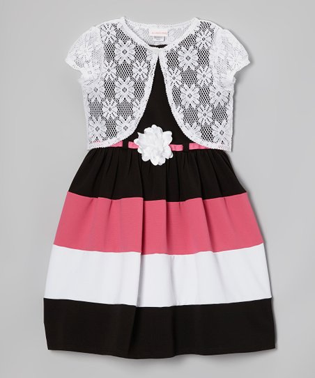 Pink & Black Stripe Dress & Shrug - Toddler & Girls
