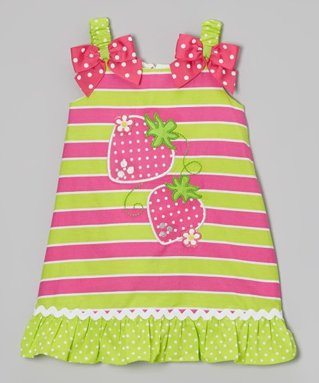 Pink & Lime Strawberry Swing Dress - Infant, Toddler & Girls