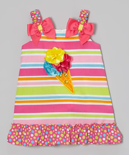 Pink & Blue Stripe Swing Dress - Infant, Toddler & Girls