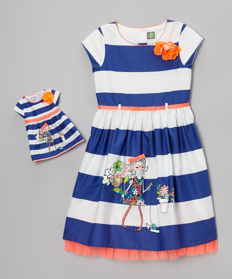 White & Blue Stripe Dress & Doll Dress - Girls
