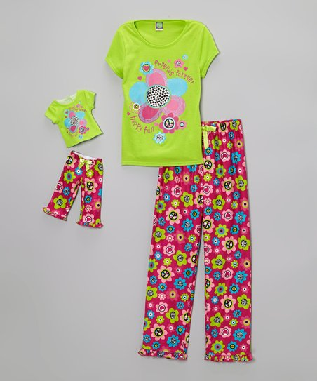 Green & Pink 'Friends Forever' Pajama Set & Doll Outfit - Girls