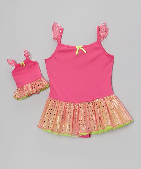 Pink Skirted Leotard & Doll Leotard – Girls