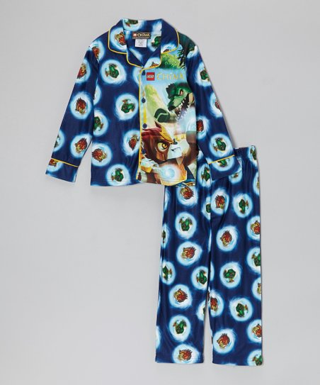 Blue LEGO Chima Button-Up Pajama Set - Boys