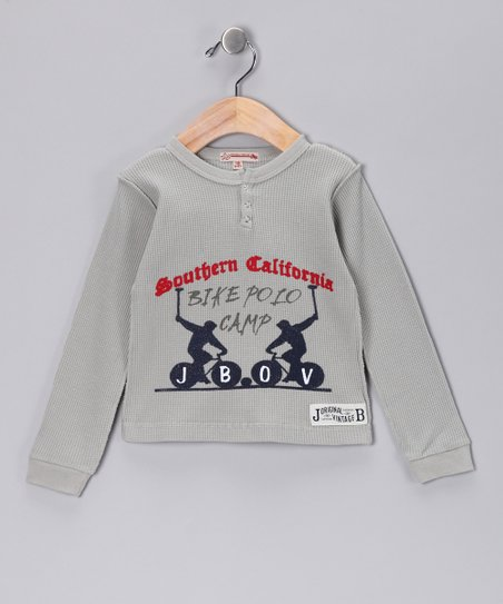 JB Original Gray 'Bike Polo' Henley - Infant, Toddler & Boys
