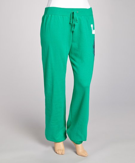 Emerald Green & White Fleece Sweatpants - Plus