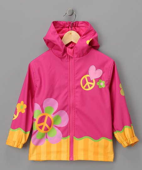 Pink 'Peace' Raincoat - Toddler & Girls