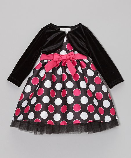 Black & Fuchsia Dot Dress & Black Velvet Jacket - Infant