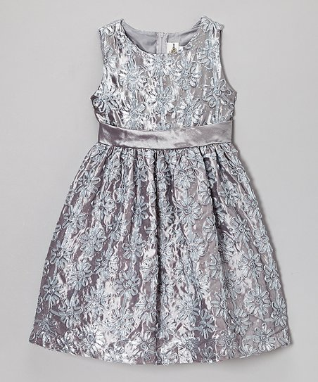 Silver Floral Soutache Dress - Toddler
