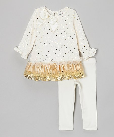 Ivory & Gold Tiered Tunic & Leggings - Toddler & Girls